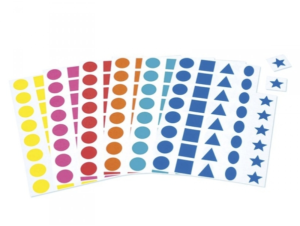 12 sticker sheets - 5 different shapes - different colours