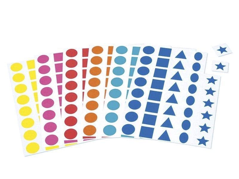 12 planches de gommettes 5 formes - multicolores  - 1