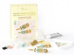 Kit Rose Moustache - tissage de perles miyuki - les broches plumes La petite épicerie - 1