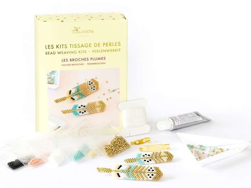 Kit Rose Moustache - tissage de perles miyuki - les broches plumes