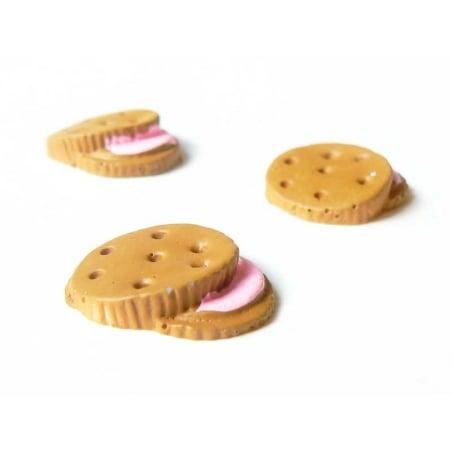 Cabochon biscuit chocolat fourré à la fraise  - 2