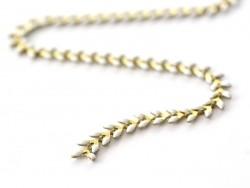 Emaillierte weiße Ährenkette - 50 cm