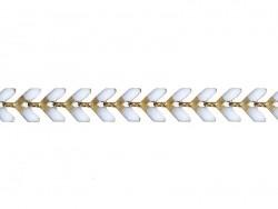 Chaîne épi émaillée blanche - 50 cm