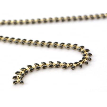 Chaîne épi émaillée noire - 50 cm  - 1