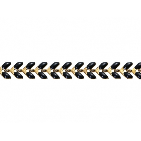 Chaîne épi émaillée noire - 50 cm  - 4