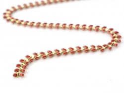 Claret-red enamel cob chain - 50 cm