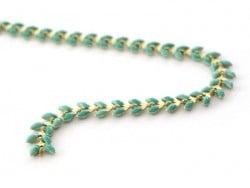 Chaîne épi émaillée vert émeraude - 50 cm  - 1