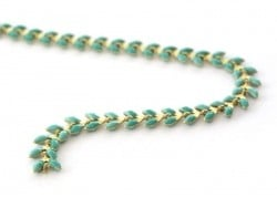 Emerald green enamel cob chain - 50 cm