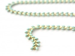 Emaillierte türkisblaue Ährenkette - 50 cm