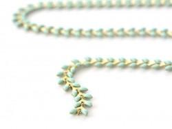 Turquoise blue enamel cob chain - 50 cm