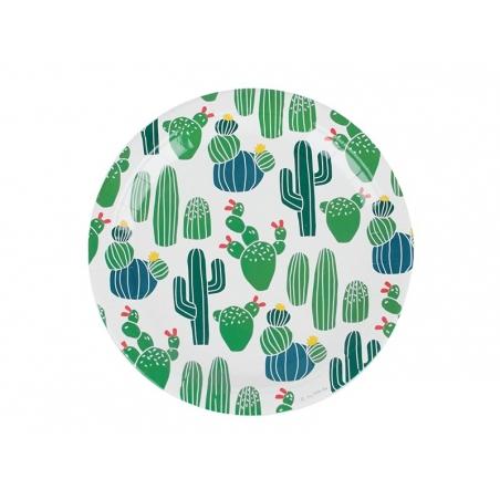 8 assiettes en papier - cactus