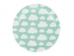8 assiettes en papier - nuages