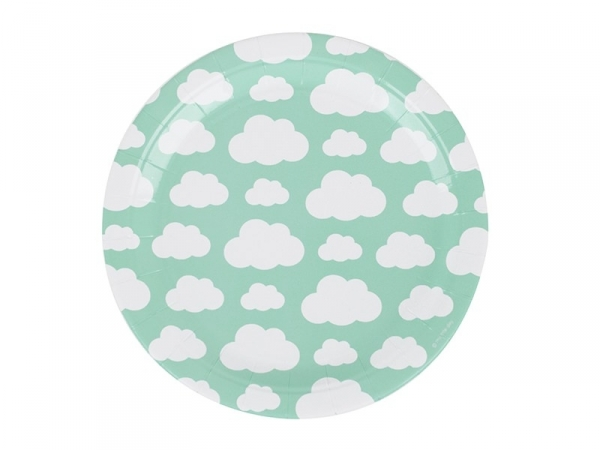 8 paper plates - clouds