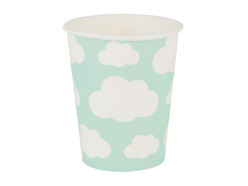 8 gobelets en papier - nuages