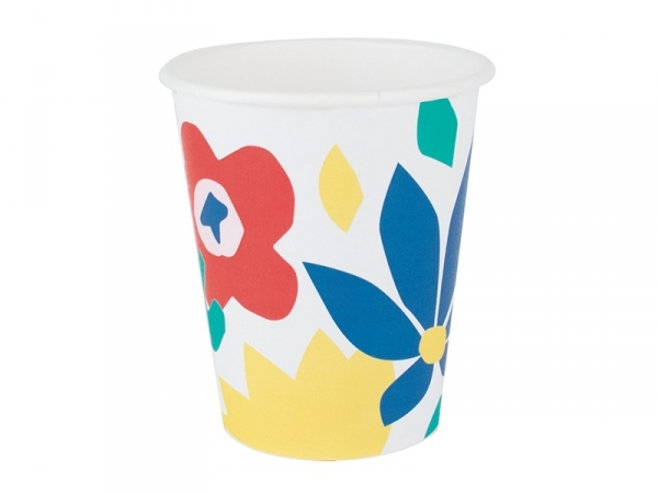 8 paper cups - tropical flowers