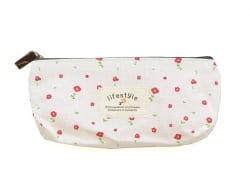 Pencil case with a floral pattern - beige
