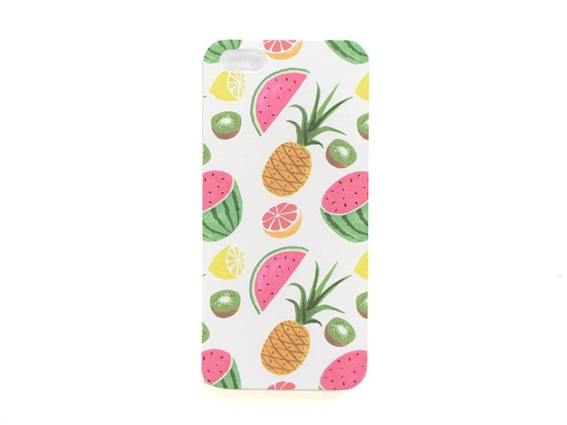 Coque Iphone 5 / 5S / 5SE - Fruits exotiques / blanc