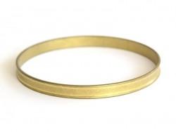 Bracelet jonc rond en laiton - avec petits rebords  - 1