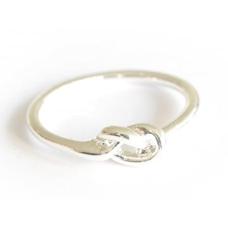Bague petit noeud - couleur argent  - 4