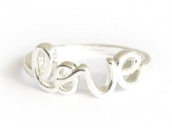 """Ring with the word """"love"""" - silver-coloured letters"""