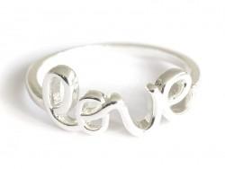 "Ring - ""Love"" - silberfarbener Schriftzug"