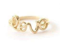 Bague love - écriture dorée