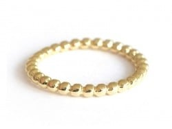 Small beaded ball ring - gold-coloured