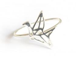 bague grue origami - couleur argent  - 1