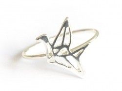Origami crane ring - silver-coloured