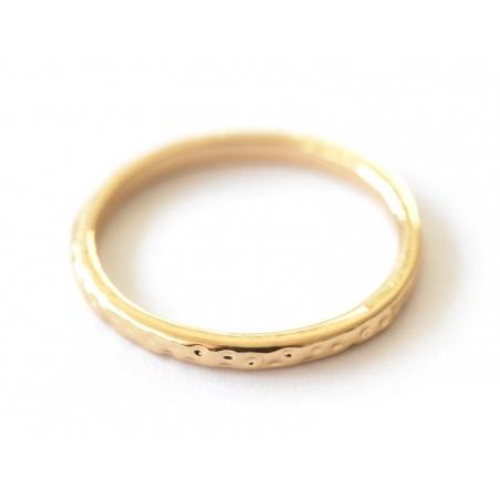Bague fine - anneau martelé or  - 2