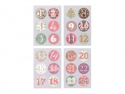 Round advent calendar stickers - green/red