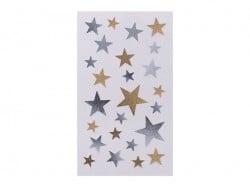Stickers étoiles dorés et argentés