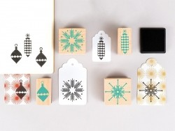 Set of Christmas rubber stamps - green