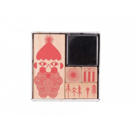 Set of Christmas rubber stamps - red