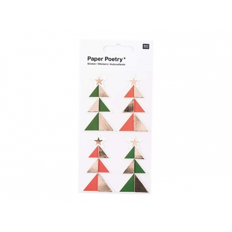 3D stickers - green and red fir trees