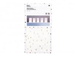 5 grands sachets papier photophore - flocon avec dorure