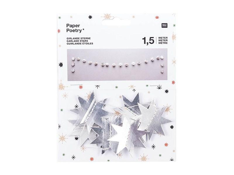 Guirlande en papier - étoiles argentées