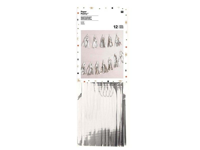 Guirlande en papier - glands argentés