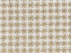 Bedruckter Stoff - weiß mit goldfarbenen Rosetten