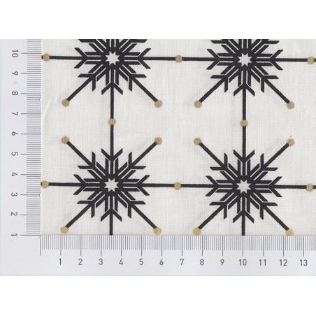 Tissu imprimé - blanc à flocons noirs
