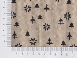Coupon de tissu - beige motifs sapin et flocons