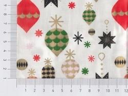Stoffrest - weiß mit Weihnachtsdekomotiv