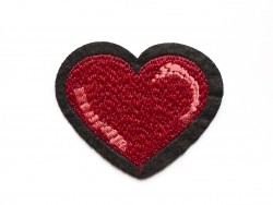 Iron-on patch - big embroidered heart