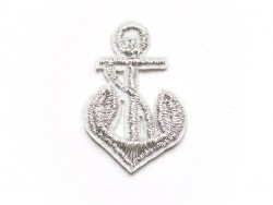 Iron-on patch - silver-coloured embroidered anchor