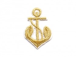 Embroidered iron-on patch - gold-coloured anchor