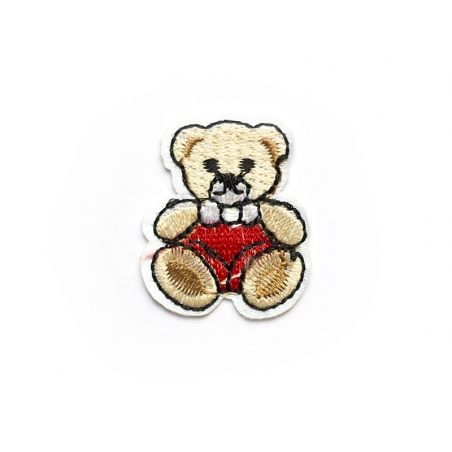 Iron-on patch - small teddy in a red t-shirt