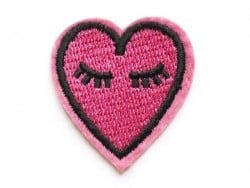 Iron-on patch - pink embroidered heart
