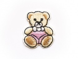 Iron-on patch - small embroidered teddy bear