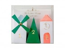 3-D village advent calendar - pastel colours