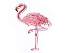 Ecusson thermocollant brodé grand flamand rose  - 1